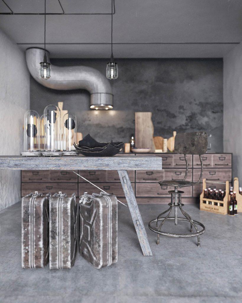 صندلی و میز صنعتی طور خانه به سبک روستیکی
