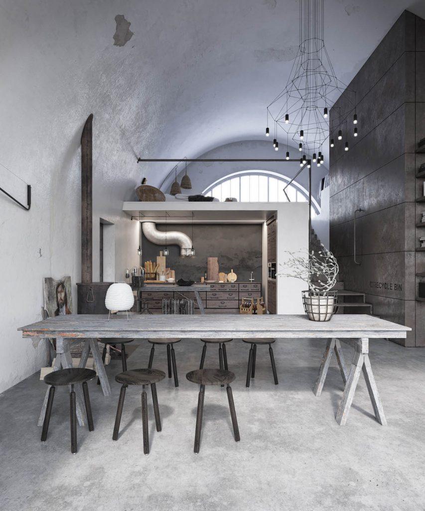 مبلمان و دکوراسیون داخلی سبک روستیک، صندلی اپن روستیک و میز ناهارخوری روستیک