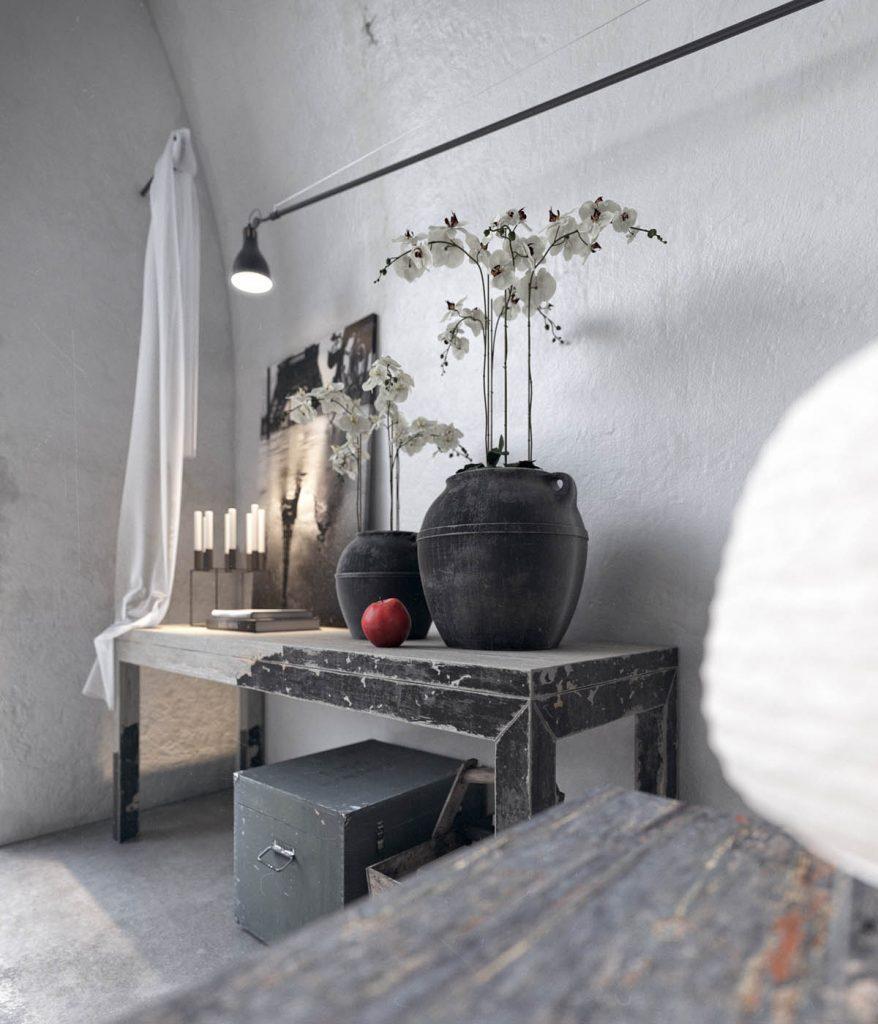 میز کهنه طور خانه به سبک روستیکی