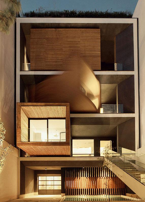 خانه شریفی ها معماری مدرن طراحی اسکیس