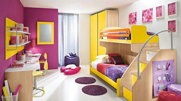 اتاق خواب رنگ بنفش تخت کمد میز مطالعه میز کامپیوتر